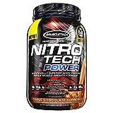 Proteina Whey MuscleTech Nitro Tech Power Powder superior, con fórmula péptida para el crecimiento de musculos, 2 libras, sabor triple chocolate