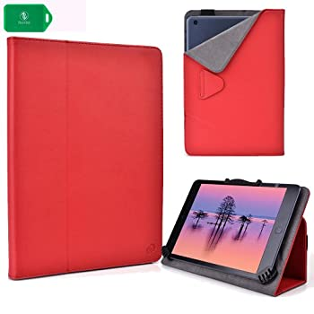 2 in 1 protective cover case and stand- UNIVERSAL FIT-w/camera hole in RED for Visual Land Prestige 7