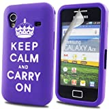 Samsung Galaxy Ace S5830 (Keep Calm And Carry On) Purple Tpu Jelly Rubber Gel Skin Case Cover Plus Screen Protector & Cleaning Cloth