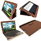 iGadgitz Brown 'Portfolio' PU Leather Case Cover for Asus Transformer Pad & Keyboard Dock TF700 TF700T TF700KL Infinity 10.1 Android Tablet (NOT SUITABLE FOR TF701T)
