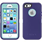 Otterbox Defender Case with Holster Clip for Iphone 5s & Iphone 5 - Retail Packaging - Violet Purple/aqua Blue