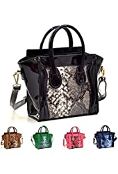 Dasein Patent Leather Snakeskin Mini Satchel Tote Handbag