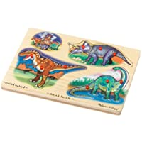 Melissa and Doug Deluxe Wooden Dinosaurs Sound Peg Puzzle