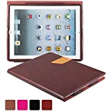 KEVENZ Ultra Thin Magnetic leather Cover & Back Case For Apple iPad 2 / iPad 3 / iPad 4 - Purplishred - K405