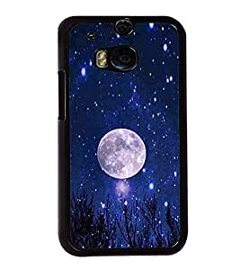 Vizagbeats Full Moon Blue Nighty Sky Stars Back Case Cover for HTC One M8