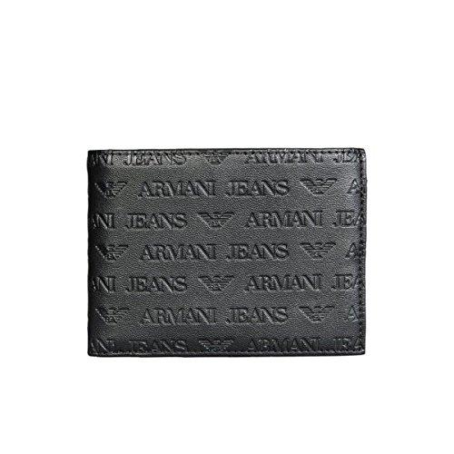 Armani Jeans portafoglio uomo bifold originale logo pattern nero