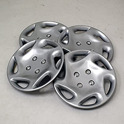 TuningPros WSC2-018S14 Hubcaps Wheel Skin Cover Type 2 14-Inches Silver Set of 4