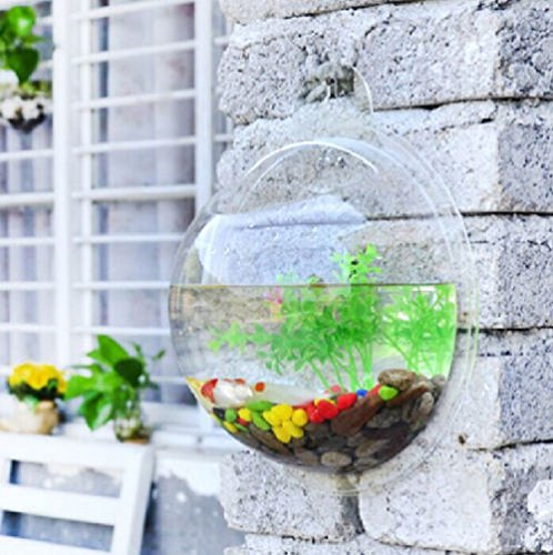 Fish Wall Mounted Bowl Aquarium Wall Hanging Tank Plant Bubble Pot Decoration