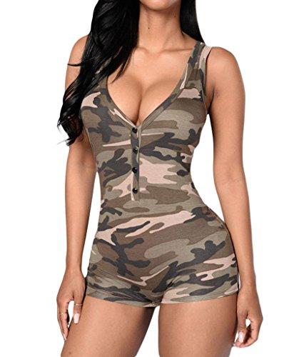 Shawhuwa Womens Sexy V Neck Sleeveless Camouflage Romper Bodysuit L Camo Women Camouflage Shorts
