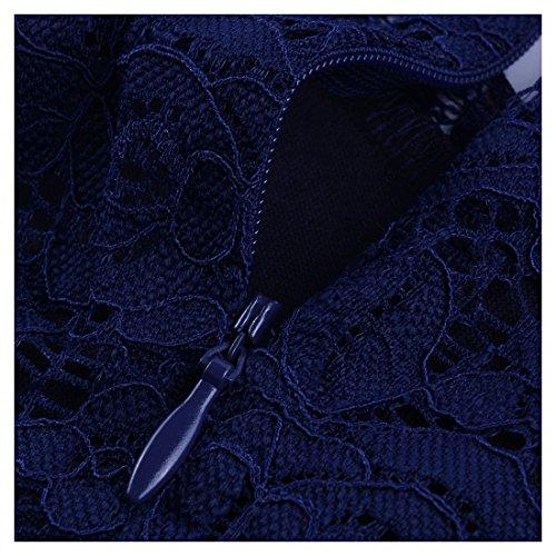 Miusol Women's Casual Deep- V Neck Sleeveless Vintage Maxi Black Dress (Large, Navy Blue)