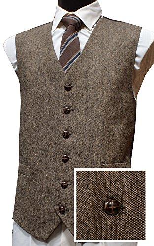 Classic Wool Handle Donegal Style Tweed Waistcoat - Brown