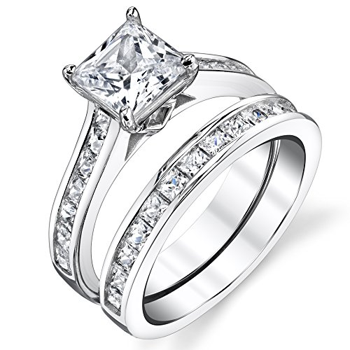 Sterling Silver Princess Cut Bridal Set Engagement Wedding Ring Bands With Cubic Zirconia Size 5.5