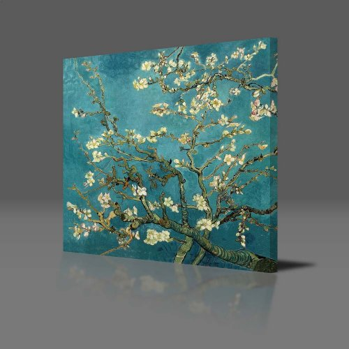 VINCENT VAN GOGH -- Blossoming Almond Tree Gallery Framed Canvas Art Print Ready To Hang NEW 51cm x 51cm