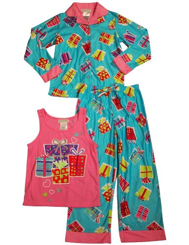 Komar Kids - Little Girls' 3 Piece Long Sleeve Pajamas, Teal, Pink 33750-14/16