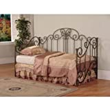 """Powell Salem Daybed - """"Distressed Pewter"""" & """"Mottled Black Textured"""" Overlay with Rub-Through Accents"""