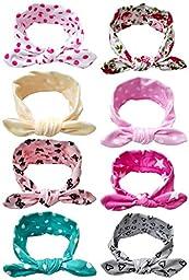 Qandsweet Baby Girl Elastic Hair Hoops Headbands (Design of Hair Band 8 Pack)