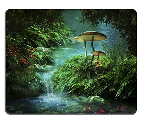 mousepads view of fantasy river wiht a pond red fishes and mushroom