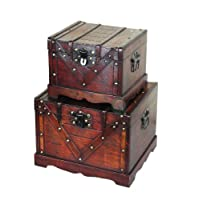 Set of 2 Trunks, Wooden Treasure Boxes, Old Style Treasure Chest