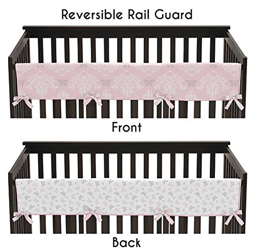 Baby-Crib-Long-Rail-Guard-Cover-for-Pink-Gray-and-White-Shabby-Chic-Alexa-Damask-Butterfly-Bedding-Collection