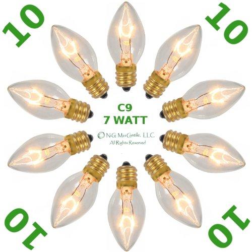 10 Pack ~ C9 ~ Clear / Transparent ~ Christmas Holiday ~ Replacement ~ E17 ~ 7 Watt ~ Light Bulbs