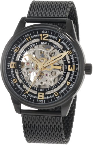 Akribos XXIV Men's AKR446BK Bravura Saturnos Elite Automatic Black Mesh Watch