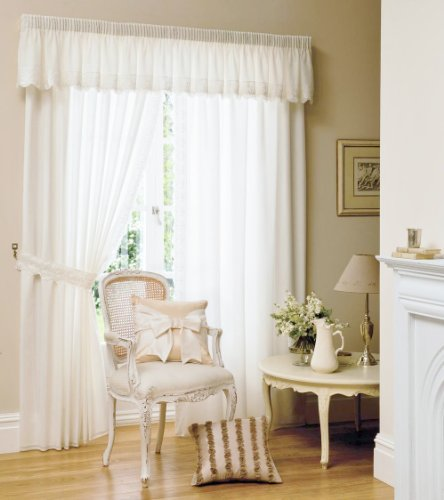 """WHITE EMBROIDERED FULLY LINED DRAPES W46"""" X L90"""""""