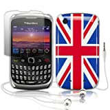 BLACKBERRY CURVE 3G 9300 UNION JACK BACK COVER CASE W/SCREEN PROTECTOR & HEADSET PART OF THE QUBITS ACCESSORIES RANGEby Qubits