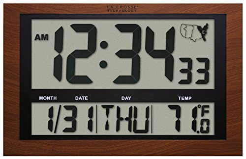 La Crosse Technology 513-1211A Jumbo Digital Atomic Temperature Wall Clock, Red Wood