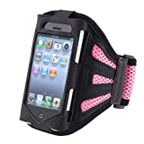 eForCity Deluxe Armband Compatible With Apple iPhone 4 - Version iPhone 4S - AT&T, Sprint, Version 16GB 32GB 64GB, Black Light Pink
