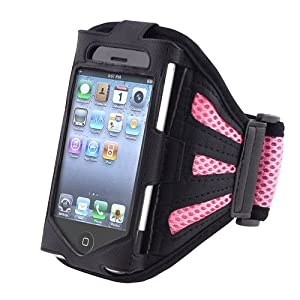 eForCity Deluxe Armband Compatible With Apple® iPhone® 4 - Version iPhone® 4S - AT&T, Sprint, Version 16GB 32GB 64GB, Black Light Pink