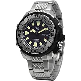 Seiko SKZ247K1 Men's Stainless Steel Seiko 5 Automatic Dive Watch Black Dial