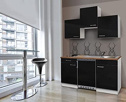 respekta-Bloque de cocina (150cm color blanco negro con APL nogal kb150ws