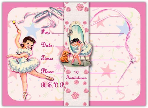 Dolce Mia Ballerina Party Invitations - 10 pack