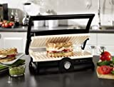 Oster CKSTPM20W-ECO DuraCeramic Panini Maker and Grill, Black/Crème