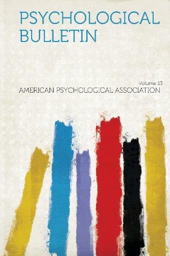 Psychological Bulletin Volume 13