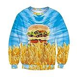 SUNY 3D Hoodies Sweatshirts Hamburger Casual Winter Fall Food Graphic Pullover
