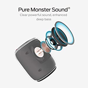 Monster S110 Portable Bluetooth Speakers with Passive Bass Radiator & TWS Function Deliver Deep Bass & Clear Stereo Sound, Compact Size & IPX5 Capability Suitable for Indoor or Outdoor, Black (Color: S110, Tamaño: S110)