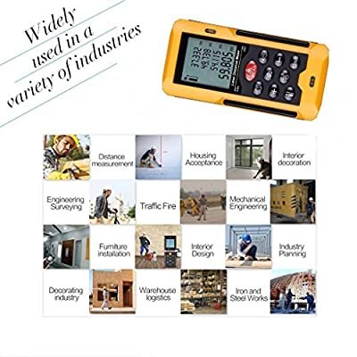 upHere 197ft /60m Portable Digital Laser Distance Meter Rangefinder Finder Handheld Measure Instrument with Min/in/ft , Tape Measure 0.05 to 60m (0.16 to 197ft) ¡