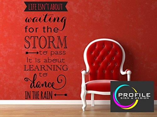 Life Isn' t About Waiting For The Storm To Pass si tratta di imparare a ballare sotto la pioggia-Inspirational adesivo da parete dimensioni 1556X 692mm profilo realizzato nel Regno Unito da segni