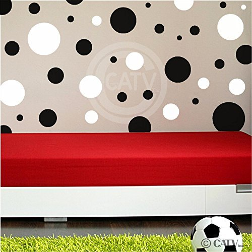 Assorted Vinyl Polka Dots circle wall decals vinyl stickers nursery decor (Black & White/set of 32)