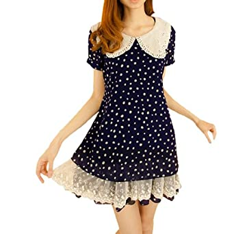 Allegra K Lady Peter Pan Collar Short Sleeve Dots Tiered Hem Mini Dress
