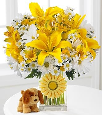 "Walking on Sunshine ""Singing"" Flower Bouquet with Plush Puppy - 15 Stems - VASE INCLUDED"