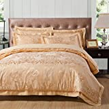 Hughapy® European Style Cotton Satin Jacquard Wedding Bedding sets, Embroidered Duvet Cover, Golden yellow, Full Queen size 4 Pieces(Full size)
