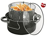Gourmet Non Stick Deep Fryer with Frying Basket and Glass Cover
