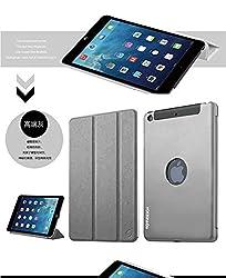 TOTU Jaeger Series Smart Awakening Aluminum Metal Back Shell Folio Stand Leather Cover Protective Case for Apple iPad mini 4-Grey