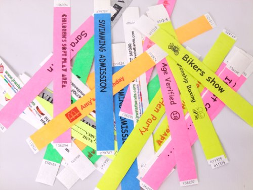 100 Custom Printed Tyvek Wristbands selection of colours, add text logos