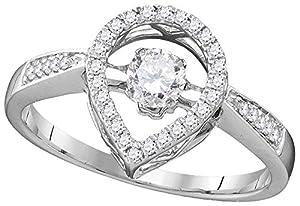 Twinkle Diamond Ring Teardrop Shape Diamonds 10k White Gold 3/8 CTW 36 Diamonds, 9