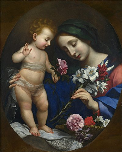 Polyster Canvas ,the Replica Art DecorativePrints On Canvas Of Oil Painting 'After Carlo Dolci The Virgin And Child With Flowers ', 20 X 25 Inch / 51 X 64 Cm Is Best For Hallway Gallery Art And Home Decoration And Gifts