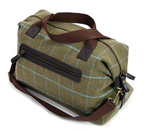 Luxury-Tweed-Weekender-Holdall-overnight-travel-bag-Green-Tweed-with-Blue-Overcheck-BRITISH-MADE