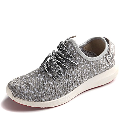 JARLIF Women's Canvas Walking Sneakers - Breathable Running Shoes Gray US6